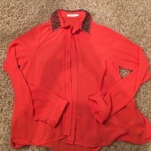 Nordstrom : BNWOT Lush Orange Long Sleeve Blouse